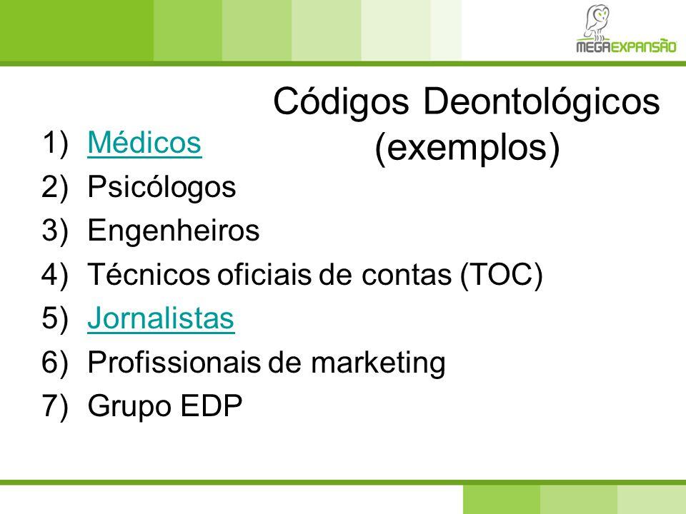 Códigos Deontológicos (exemplos) 1)MédicosMédicos 2)Psicólogos 3)Engenheiros 4)Técnicos oficiais de contas (TOC) 5)JornalistasJornalistas 6)Profission