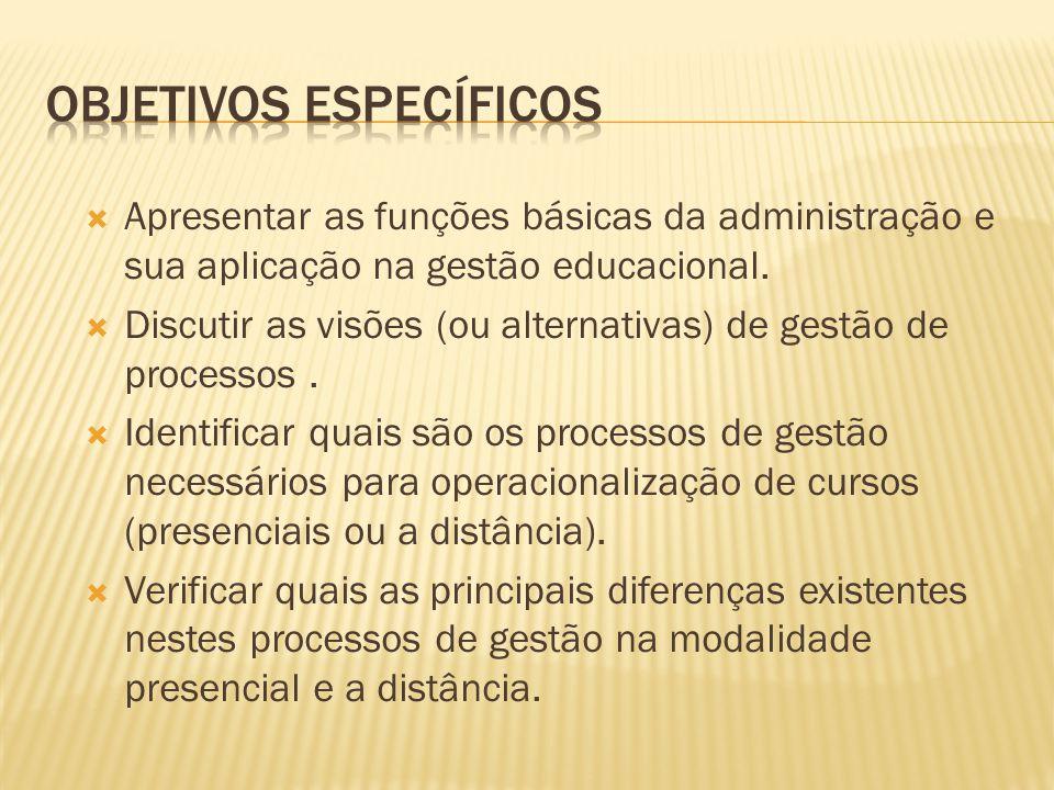  Apresentar as funções básicas da administração e sua aplicação na gestão educacional.