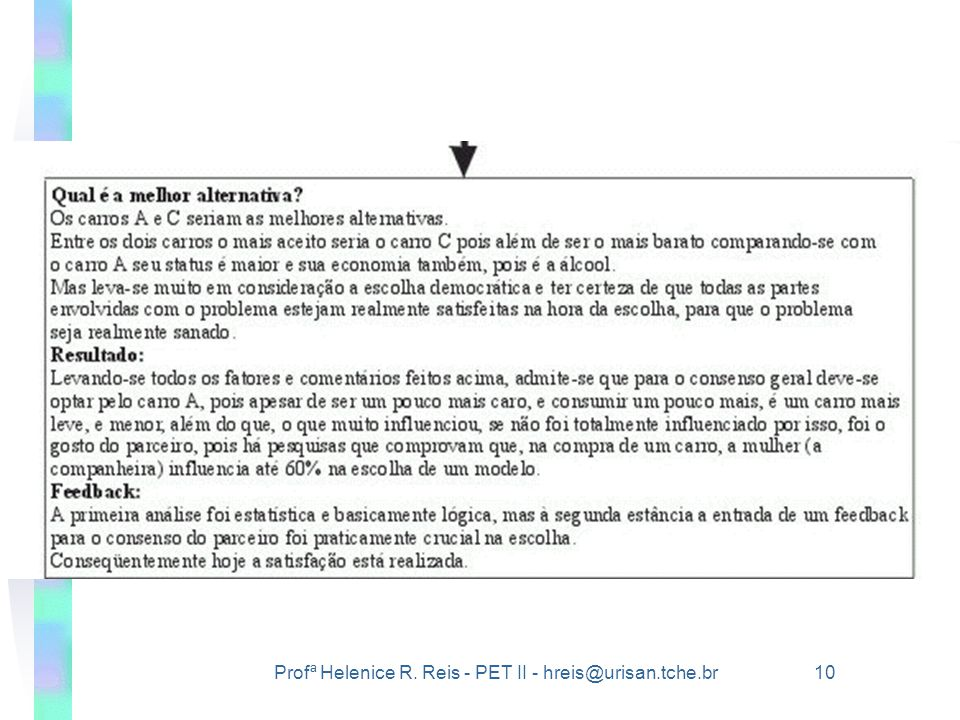 Profª Helenice R. Reis - PET II - hreis@urisan.tche.br 10