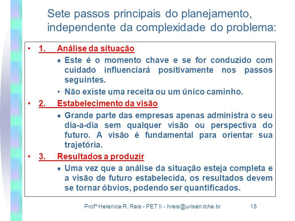 Profª Helenice R. Reis - PET II - hreis@urisan.tche.br 15 Sete passos principais do planejamento, independente da complexidade do problema: •1.Análise
