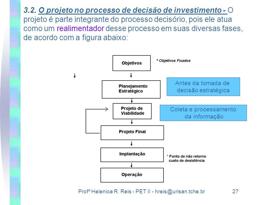 Profª Helenice R. Reis - PET II - hreis@urisan.tche.br 27 3.2. O projeto no processo de decisão de investimento - O projeto é parte integrante do proc