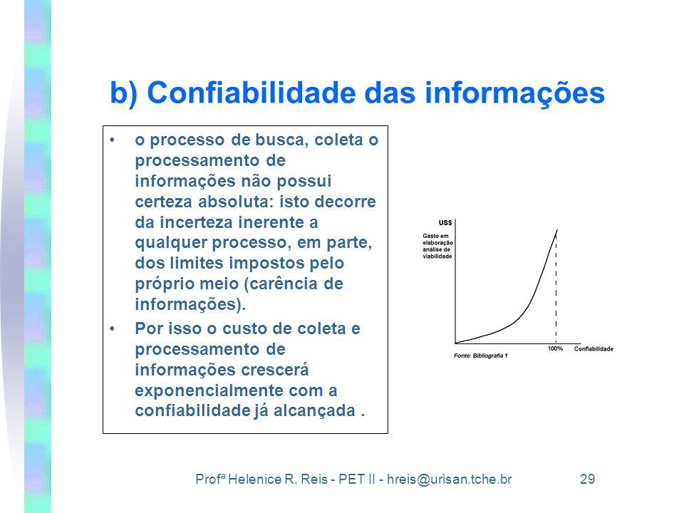 Profª Helenice R. Reis - PET II - hreis@urisan.tche.br 29 b) Confiabilidade das informações •o processo de busca, coleta o processamento de informaçõe
