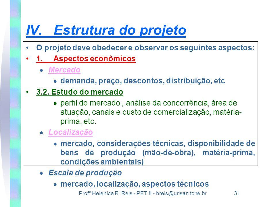 Profª Helenice R. Reis - PET II - hreis@urisan.tche.br 31 IV.Estrutura do projeto •O projeto deve obedecer e observar os seguintes aspectos: •1.Aspect