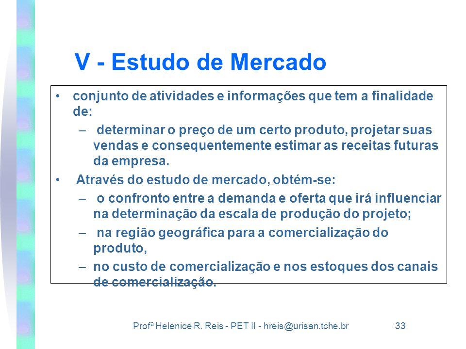 Profª Helenice R. Reis - PET II - hreis@urisan.tche.br 33 V - Estudo de Mercado •conjunto de atividades e informações que tem a finalidade de: – deter