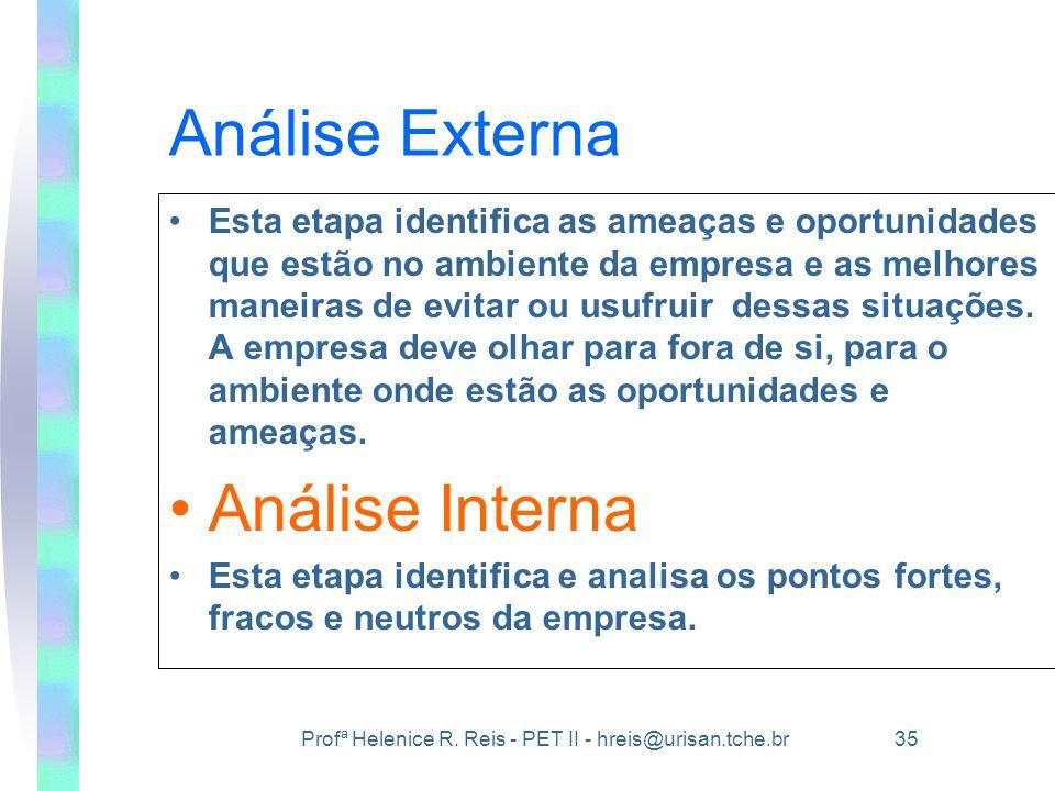 Profª Helenice R. Reis - PET II - hreis@urisan.tche.br 35 Análise Externa •Esta etapa identifica as ameaças e oportunidades que estão no ambiente da e