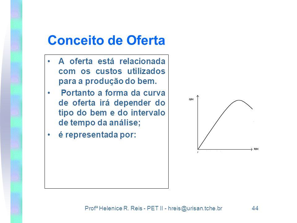 Profª Helenice R. Reis - PET II - hreis@urisan.tche.br 44 Conceito de Oferta •A oferta está relacionada com os custos utilizados para a produção do be