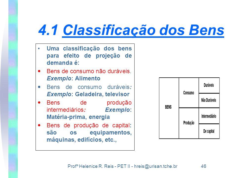 Profª Helenice R. Reis - PET II - hreis@urisan.tche.br 46 4.1 Classificação dos Bens •Uma classificação dos bens para efeito de projeção de demanda é: