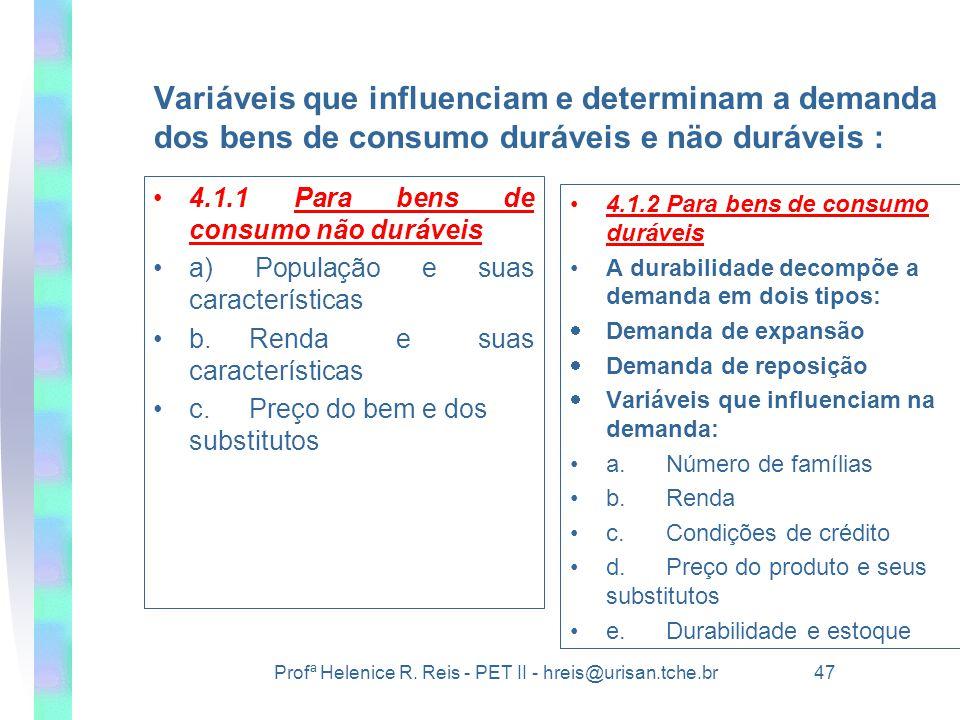 Profª Helenice R. Reis - PET II - hreis@urisan.tche.br 47 Variáveis que influenciam e determinam a demanda dos bens de consumo duráveis e näo duráveis