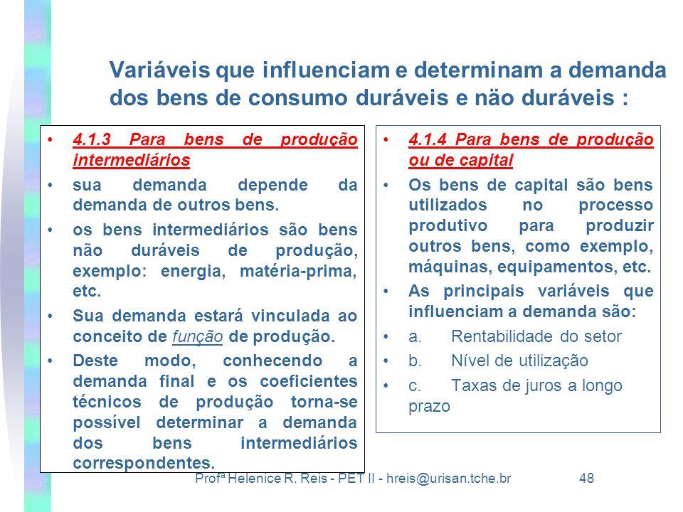 Profª Helenice R. Reis - PET II - hreis@urisan.tche.br 48 Variáveis que influenciam e determinam a demanda dos bens de consumo duráveis e näo duráveis