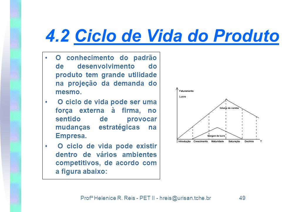 Profª Helenice R. Reis - PET II - hreis@urisan.tche.br 49 4.2 Ciclo de Vida do Produto •O conhecimento do padrão de desenvolvimento do produto tem gra
