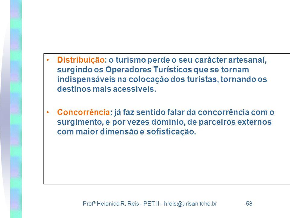 Profª Helenice R. Reis - PET II - hreis@urisan.tche.br 58 •Distribuição: o turismo perde o seu carácter artesanal, surgindo os Operadores Turísticos q