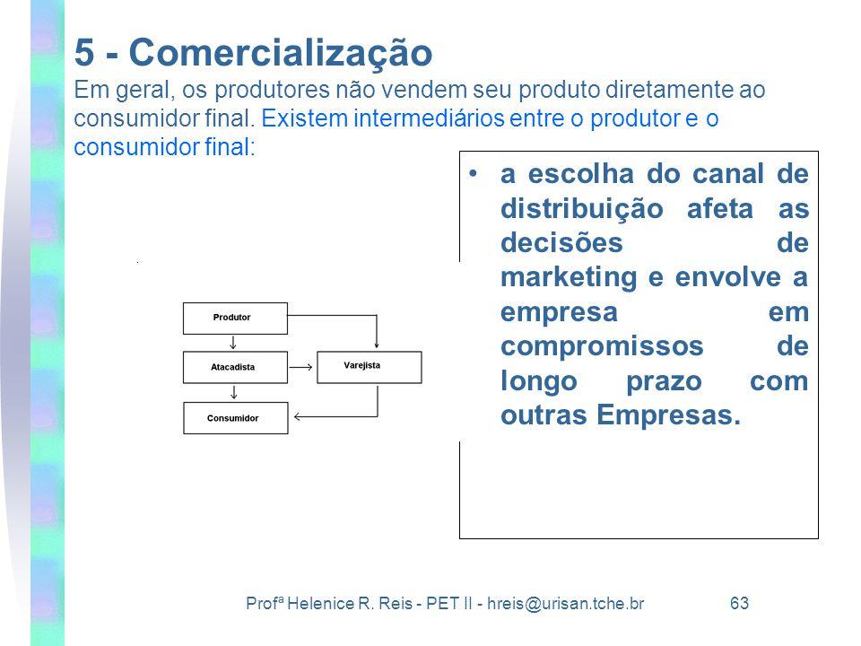 Profª Helenice R. Reis - PET II - hreis@urisan.tche.br 63 5 - Comercialização Em geral, os produtores não vendem seu produto diretamente ao consumidor
