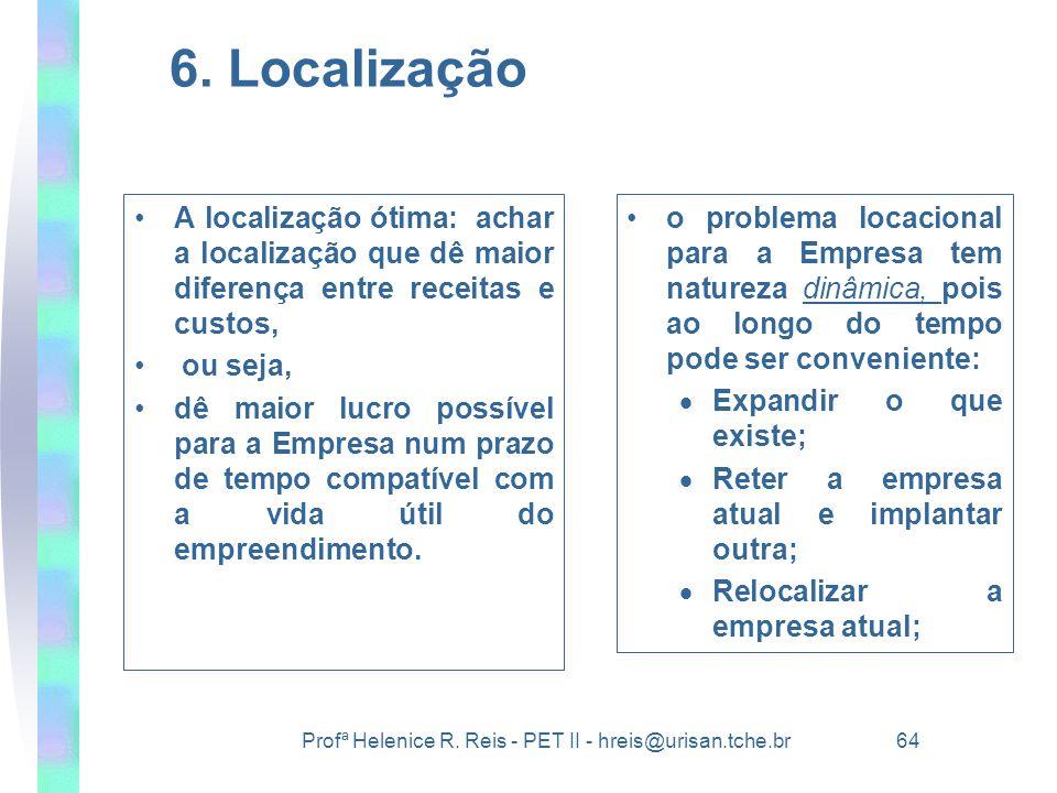 Profª Helenice R. Reis - PET II - hreis@urisan.tche.br 64 6. Localização •A localização ótima: achar a localização que dê maior diferença entre receit