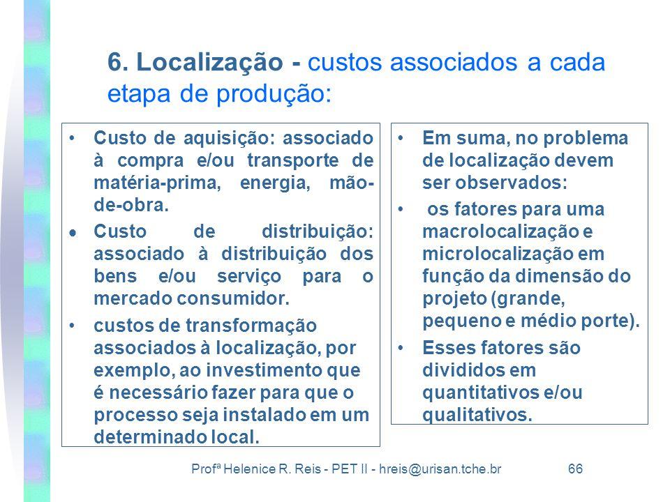 Profª Helenice R. Reis - PET II - hreis@urisan.tche.br 66 6. Localização - custos associados a cada etapa de produção: •Custo de aquisição: associado