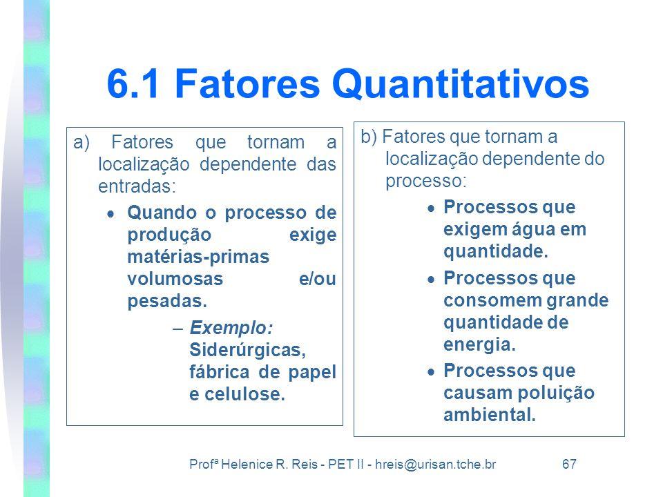 Profª Helenice R. Reis - PET II - hreis@urisan.tche.br 67 6.1 Fatores Quantitativos a) Fatores que tornam a localização dependente das entradas:  Qua