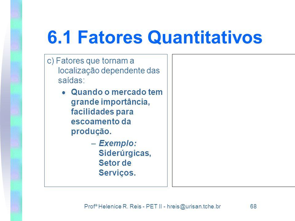 Profª Helenice R. Reis - PET II - hreis@urisan.tche.br 68 6.1 Fatores Quantitativos c) Fatores que tornam a localização dependente das saídas:  Quand