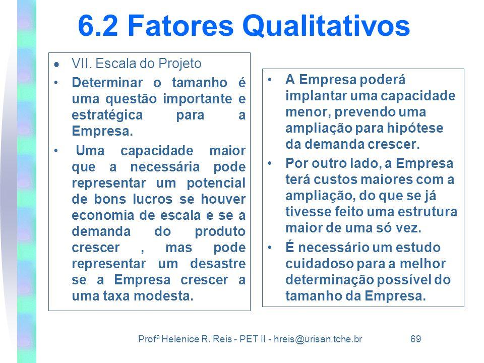 Profª Helenice R. Reis - PET II - hreis@urisan.tche.br 69 6.2 Fatores Qualitativos  VII. Escala do Projeto •Determinar o tamanho é uma questão import