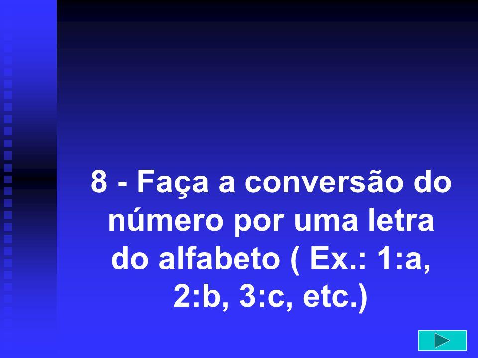 8 - Faça a conversão do número por uma letra do alfabeto ( Ex.: 1:a, 2:b, 3:c, etc.)