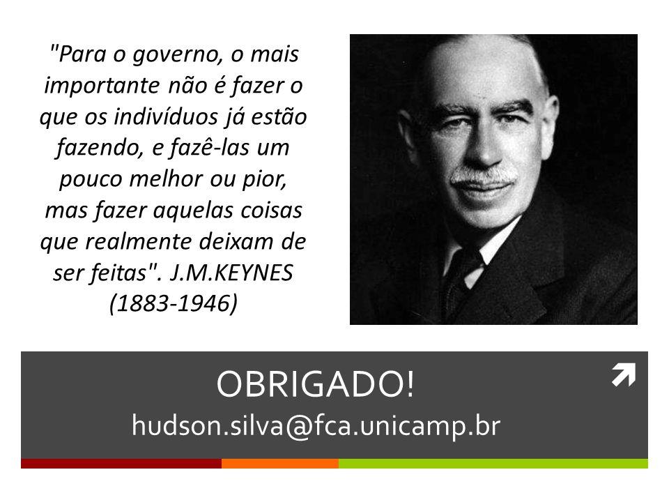  OBRIGADO! hudson.silva@fca.unicamp.br