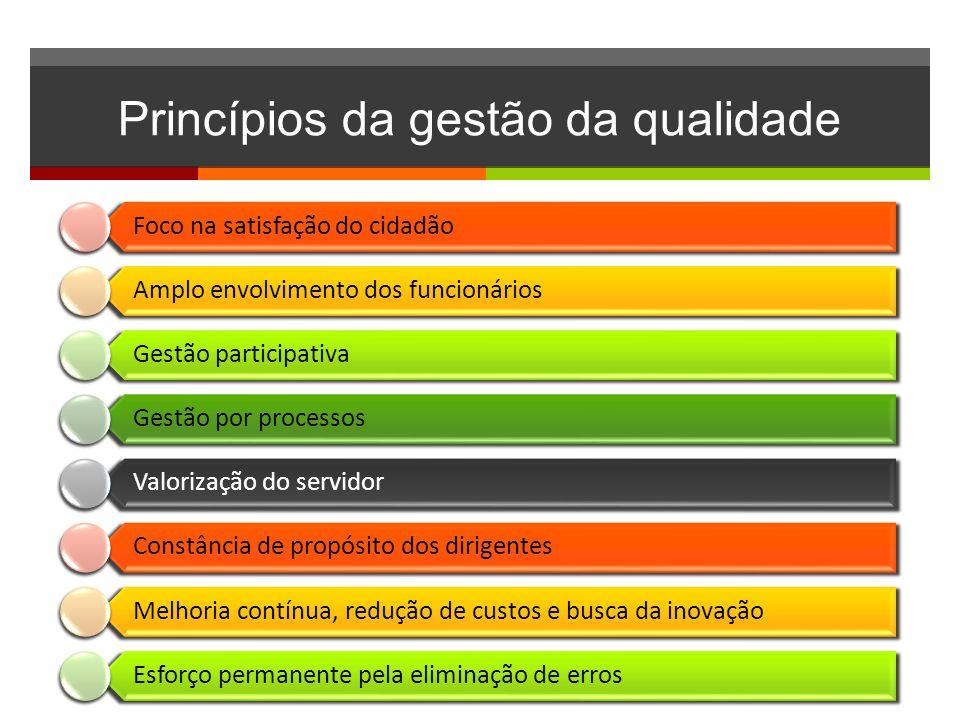 Princípios da gestão da qualidade Foco na satisfação do cidadão Amplo envolvimento dos funcionários Gestão participativa Gestão por processos Valoriza