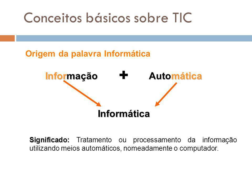 1 Conceitos básicos sobre TIC Significado: Significado: Tratamento ou processamento da informação utilizando meios automáticos, nomeadamente o computa