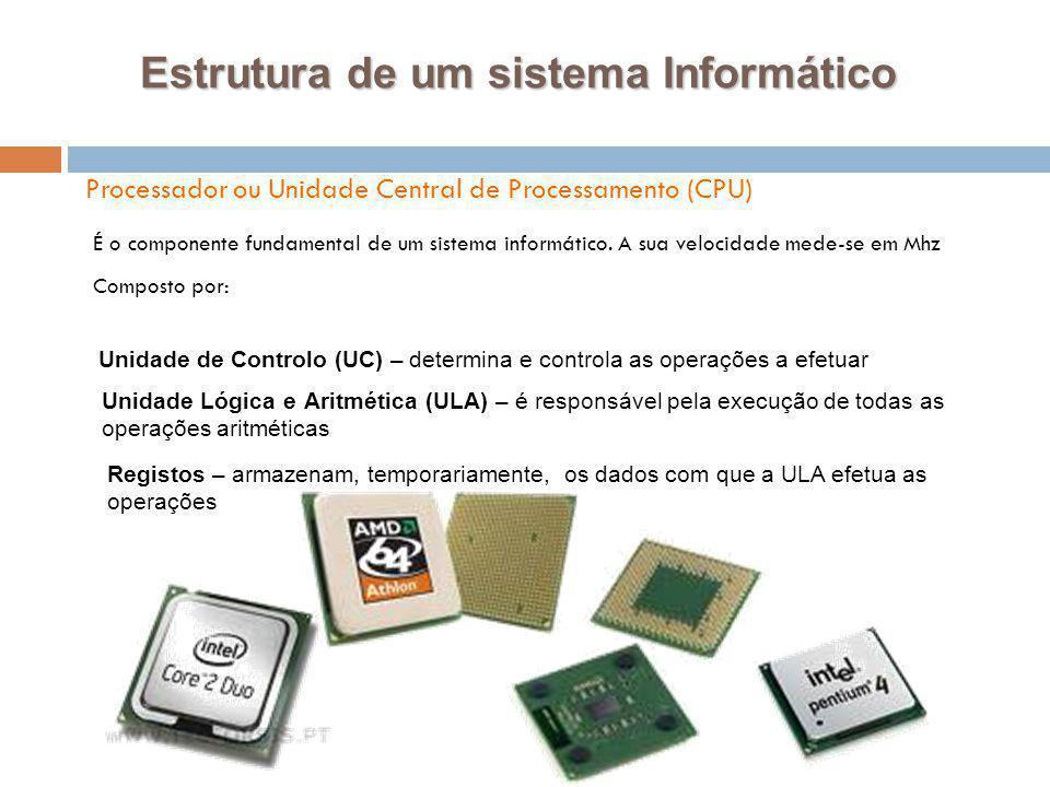17 Processador ou Unidade Central de Processamento (CPU) Estrutura de um sistema Informático É o componente fundamental de um sistema informático. A s