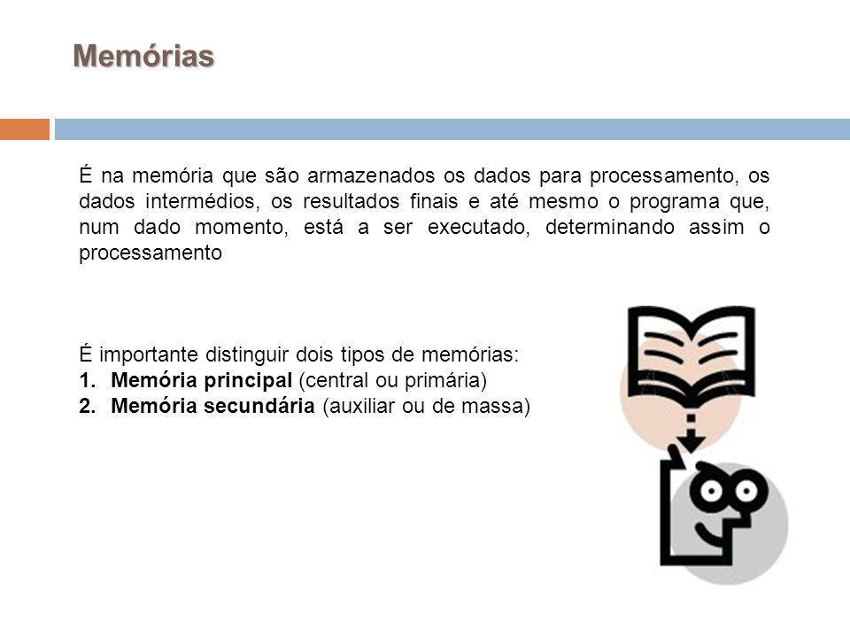 19 Memórias É na memória que são armazenados os dados para processamento, os dados intermédios, os resultados finais e até mesmo o programa que, num d