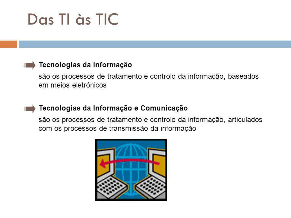 2 Das TI às TIC Tecnologias da Informação são os processos de tratamento e controlo da informação, baseados em meios eletrónicos Tecnologias da Inform