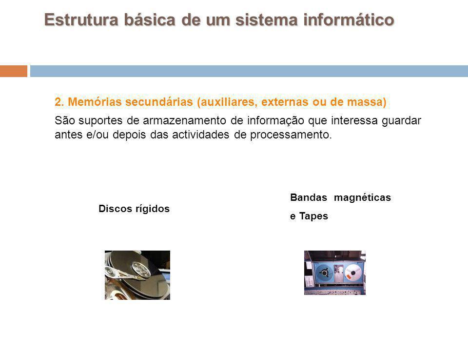 25 2. Memórias secundárias (auxiliares, externas ou de massa) São suportes de armazenamento de informação que interessa guardar antes e/ou depois das
