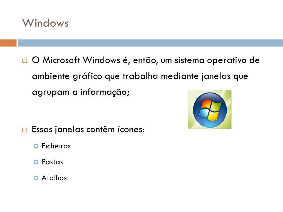 39 Windows  O Microsoft Windows é, então, um sistema operativo de ambiente gráfico que trabalha mediante janelas que agrupam a informação;  Essas ja