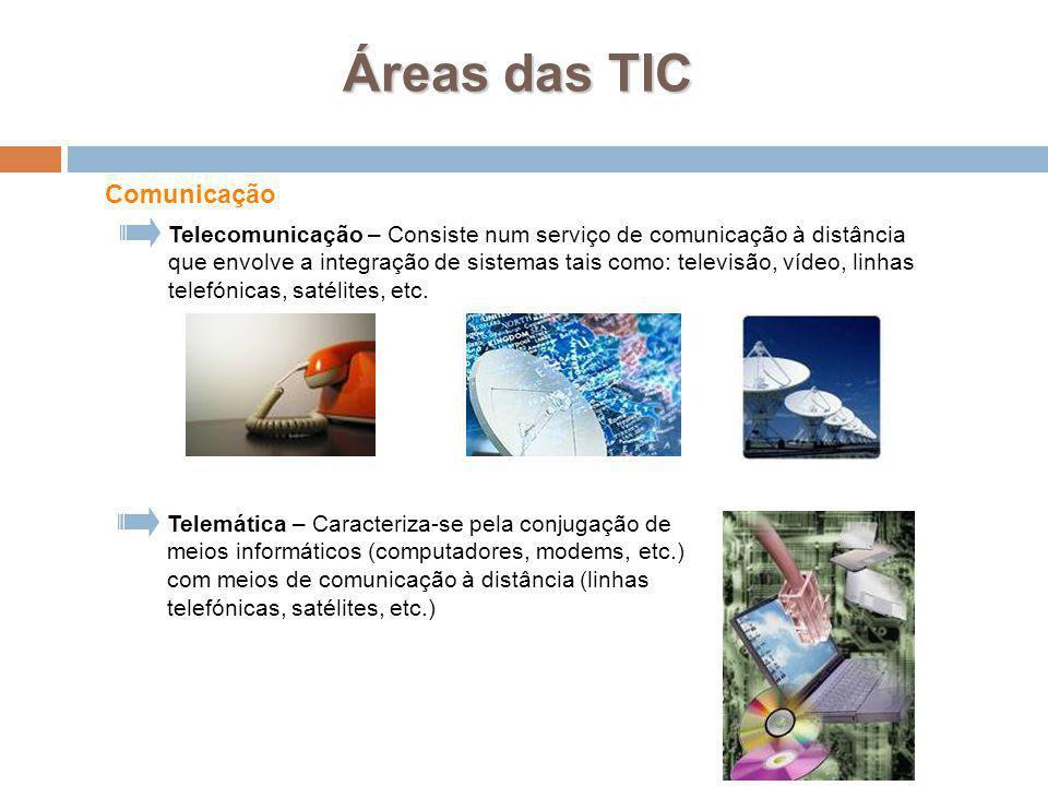 7 Telemática – Caracteriza-se pela conjugação de meios informáticos (computadores, modems, etc.) com meios de comunicação à distância (linhas telefóni