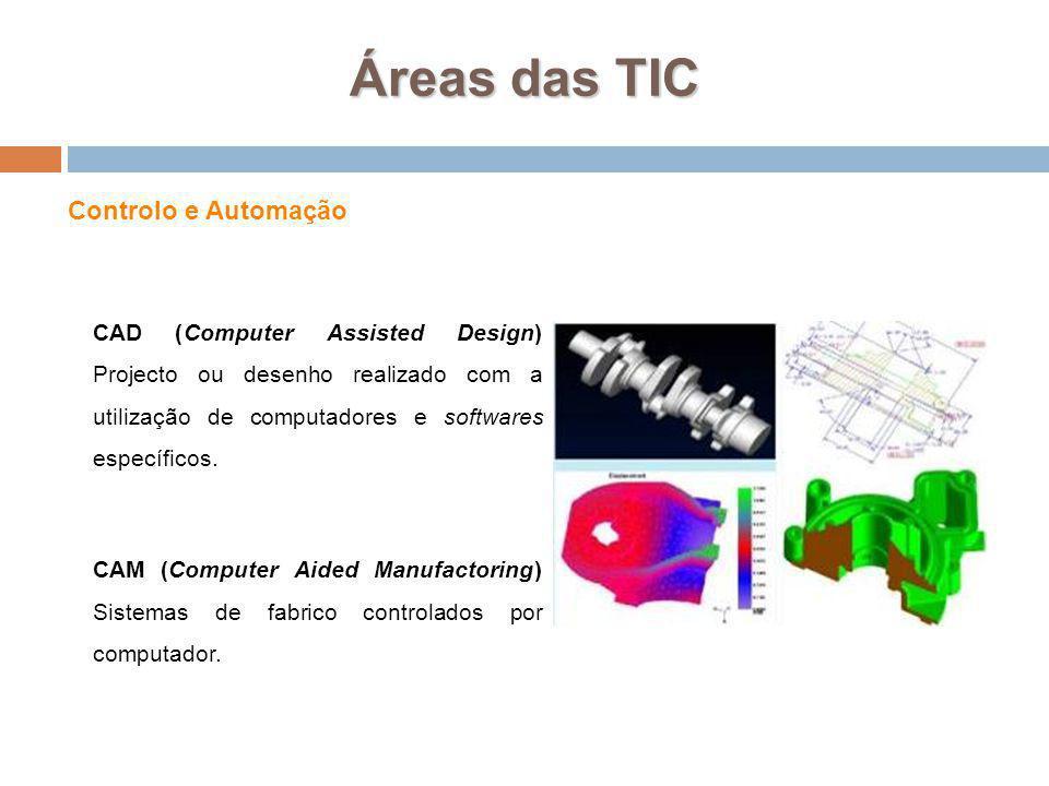 Áreas das TIC Controlo e Automação CAD (Computer Assisted Design) Projecto ou desenho realizado com a utilização de computadores e softwares específic