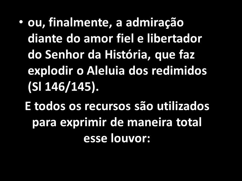 • ou, finalmente, a admiração diante do amor fiel e libertador do Senhor da História, que faz explodir o Aleluia dos redimidos (Sl 146/145). E todos o