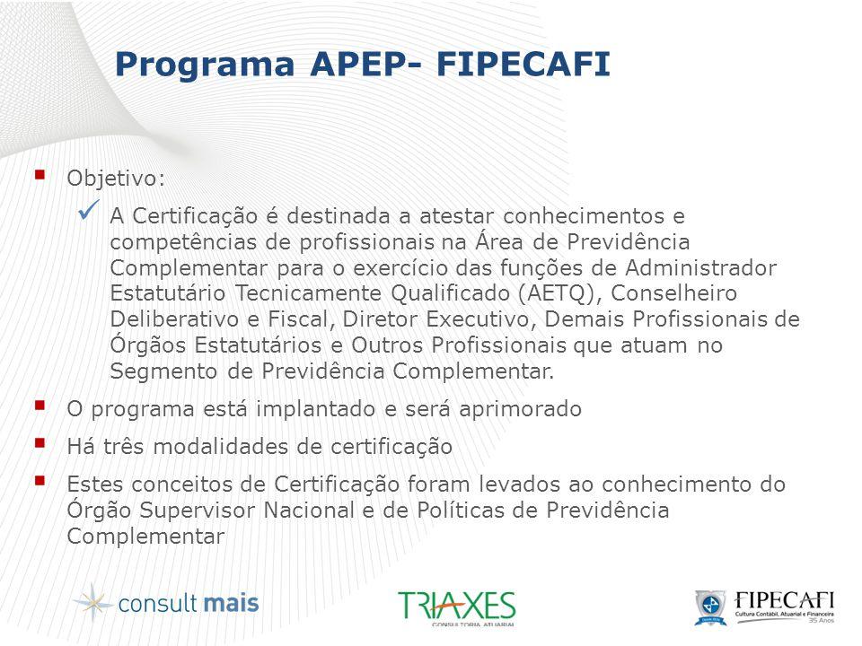 Programa APEP- FIPECAFI  Objetivo:  A Certificação é destinada a atestar conhecimentos e competências de profissionais na Área de Previdência Comple