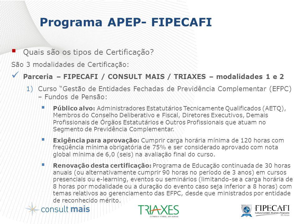 Programa APEP- FIPECAFI  Quais são os tipos de Certificação? São 3 modalidades de Certificação:  Parceria – FIPECAFI / CONSULT MAIS / TRIAXES – moda