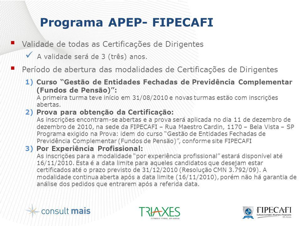 Programa APEP- FIPECAFI  Validade de todas as Certificações de Dirigentes  A validade será de 3 (três) anos.  Período de abertura das modalidades d