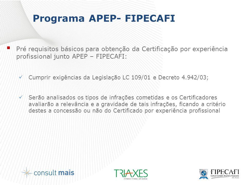 Programa APEP- FIPECAFI  Pré requisitos básicos para obtenção da Certificação por experiência profissional junto APEP – FIPECAFI:  Cumprir exigência