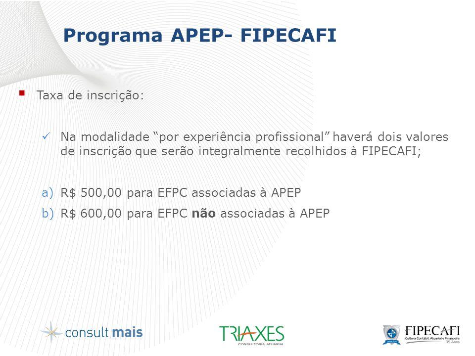 """Programa APEP- FIPECAFI  Taxa de inscrição:  Na modalidade """"por experiência profissional"""" haverá dois valores de inscrição que serão integralmente r"""