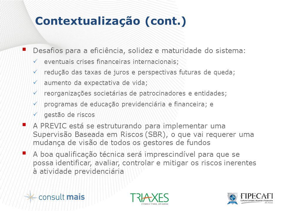 Contextualização (cont.)  Desafios para a eficiência, solidez e maturidade do sistema:  eventuais crises financeiras internacionais;  redução das t