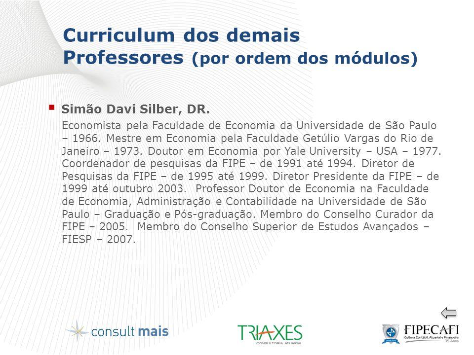 Curriculum dos demais Professores (por ordem dos módulos)  Simão Davi Silber, DR. Economista pela Faculdade de Economia da Universidade de São Paulo