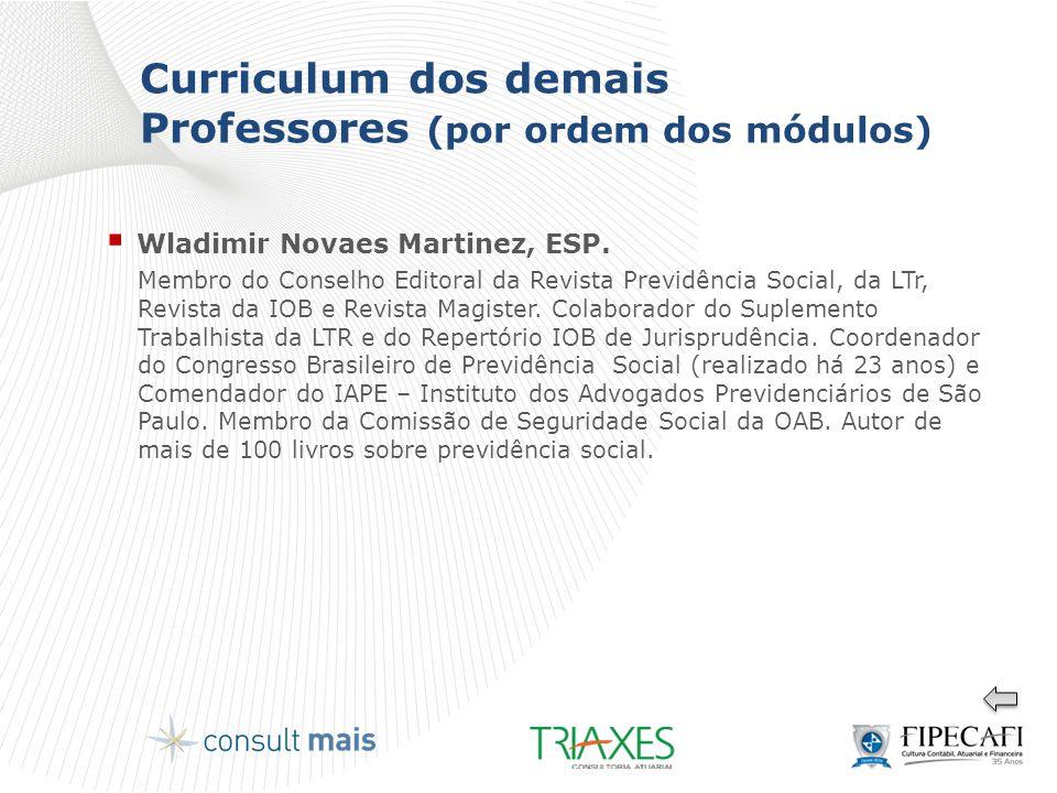 Curriculum dos demais Professores (por ordem dos módulos)  Wladimir Novaes Martinez, ESP. Membro do Conselho Editoral da Revista Previdência Social,