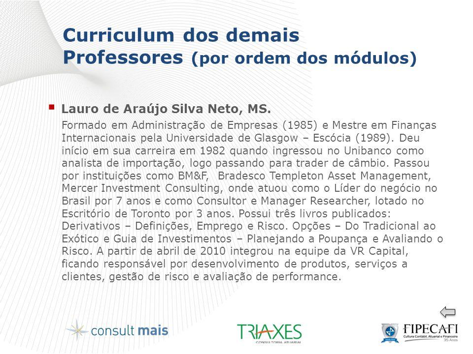 Curriculum dos demais Professores (por ordem dos módulos)  Lauro de Araújo Silva Neto, MS. Formado em Administração de Empresas (1985) e Mestre em Fi