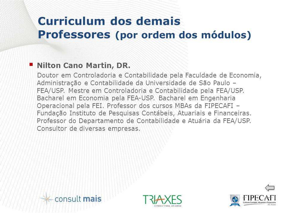 Curriculum dos demais Professores (por ordem dos módulos)  Nilton Cano Martin, DR. Doutor em Controladoria e Contabilidade pela Faculdade de Economia