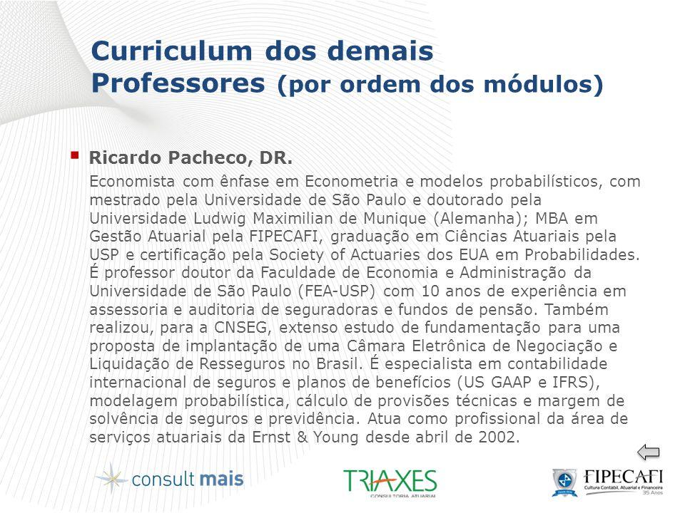 Curriculum dos demais Professores (por ordem dos módulos)  Ricardo Pacheco, DR. Economista com ênfase em Econometria e modelos probabilísticos, com m