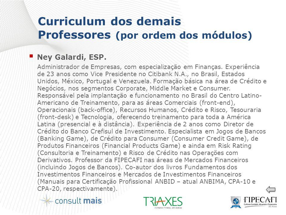 Curriculum dos demais Professores (por ordem dos módulos)  Ney Galardi, ESP. Administrador de Empresas, com especialização em Finanças. Experiência d