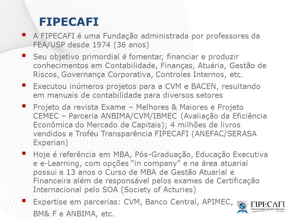 FIPECAFI  A FIPECAFI é uma Fundação administrada por professores da FEA/USP desde 1974 (36 anos)  Seu objetivo primordial é fomentar, financiar e pr