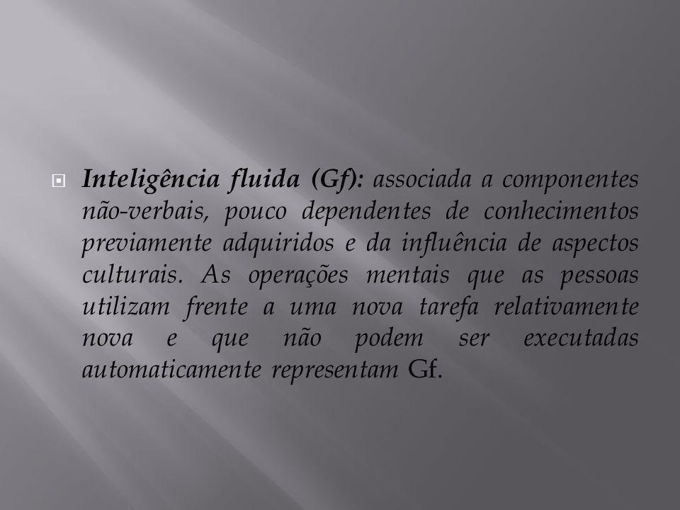  Inteligência fluida (Gf): associada a componentes não-verbais, pouco dependentes de conhecimentos previamente adquiridos e da influência de aspectos