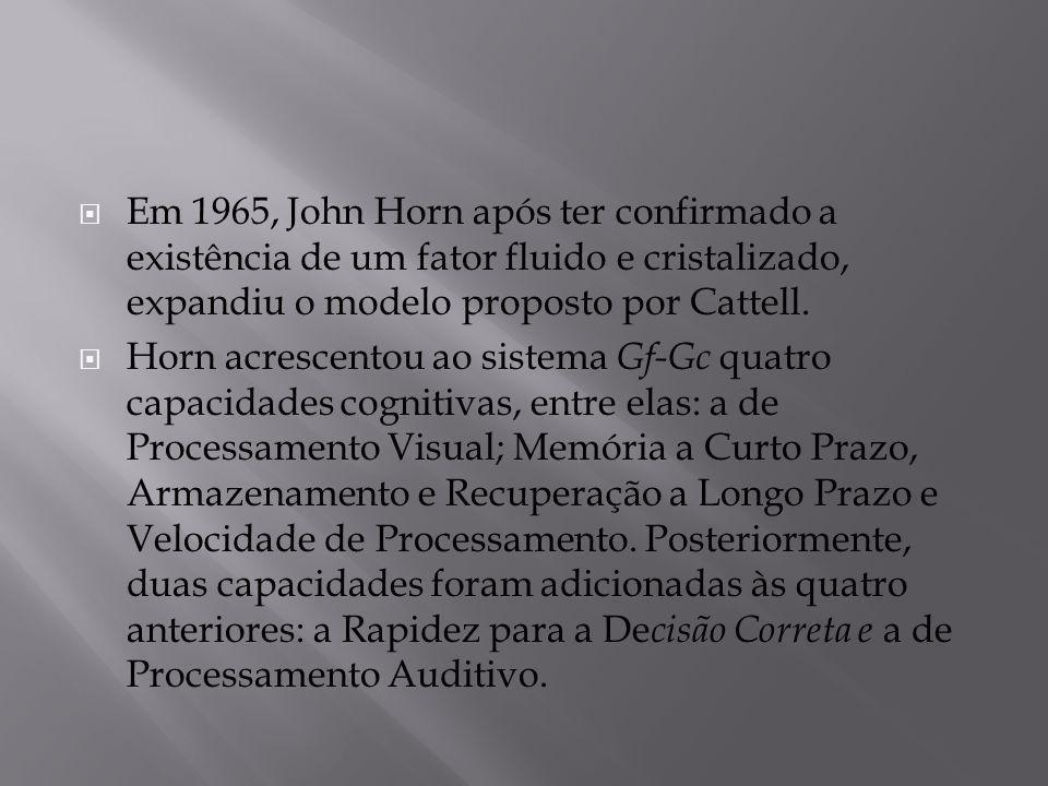  Em 1965, John Horn após ter confirmado a existência de um fator fluido e cristalizado, expandiu o modelo proposto por Cattell.  Horn acrescentou ao