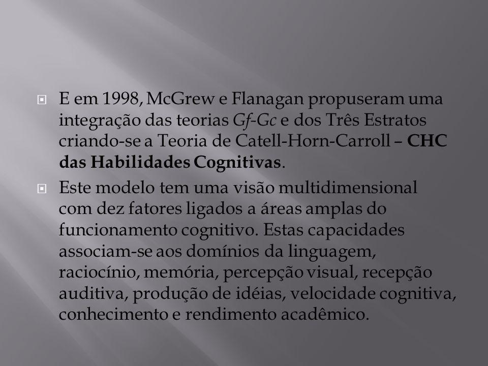  E em 1998, McGrew e Flanagan propuseram uma integração das teorias Gf-Gc e dos Três Estratos criando-se a Teoria de Catell-Horn-Carroll – CHC das Ha