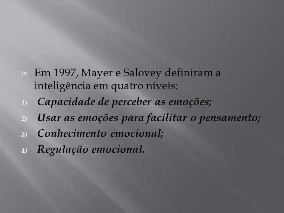  Em 1997, Mayer e Salovey definiram a inteligência em quatro níveis: 1) Capacidade de perceber as emoções; 2) Usar as emoções para facilitar o pensam